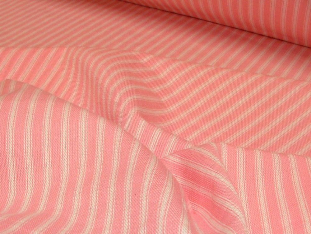 St Ives Pink White 100 Cotton Woven Ticking Curtain